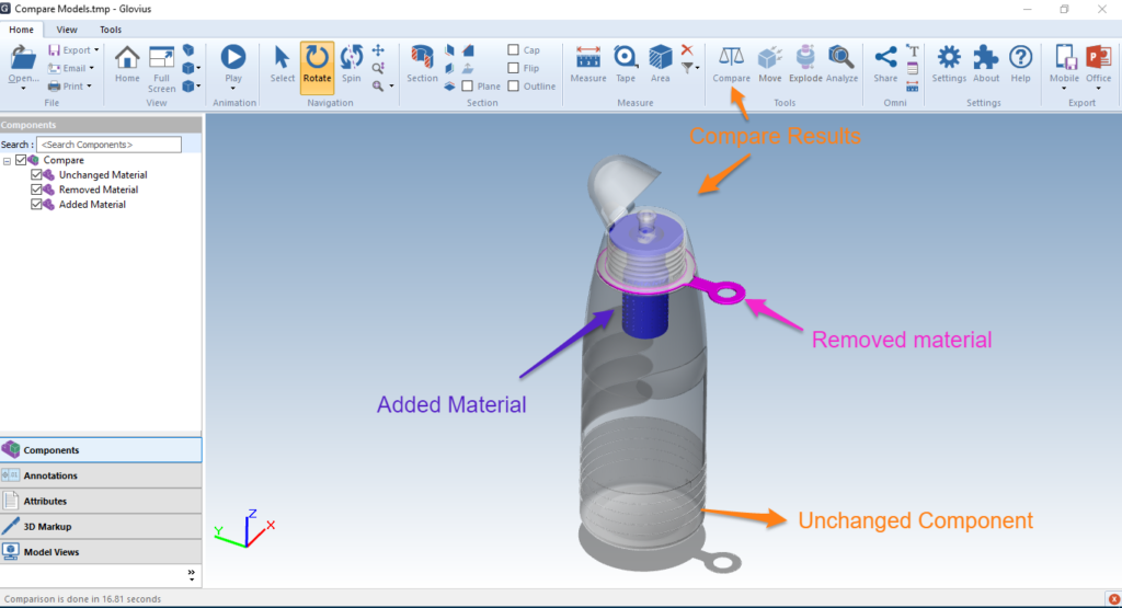 Compare two versions of a CAD component