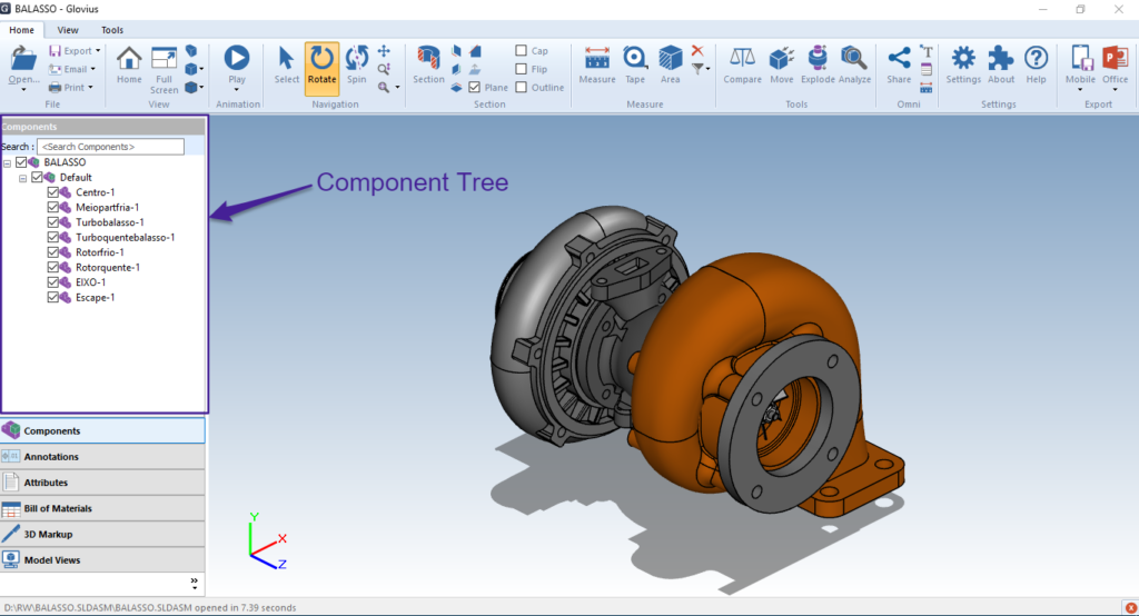 View Component Tree in CAD Assemblies