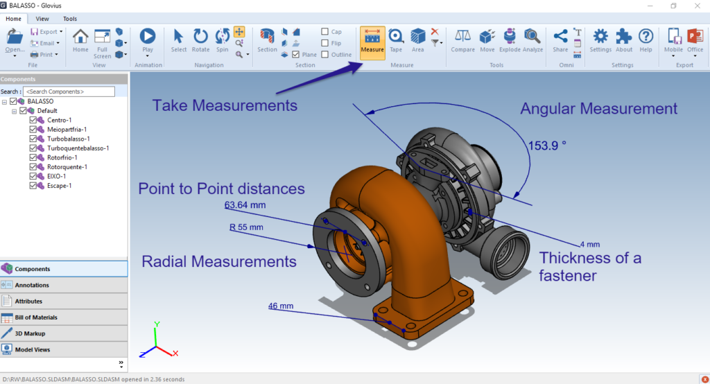 Take linear, radial and angular measurements in CAD component