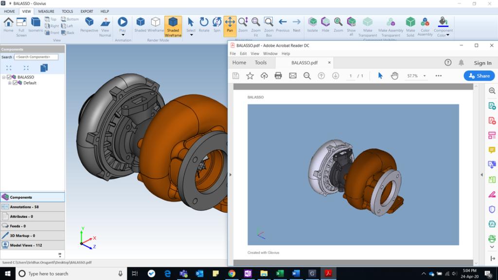 Export 3d components to  3D pdf