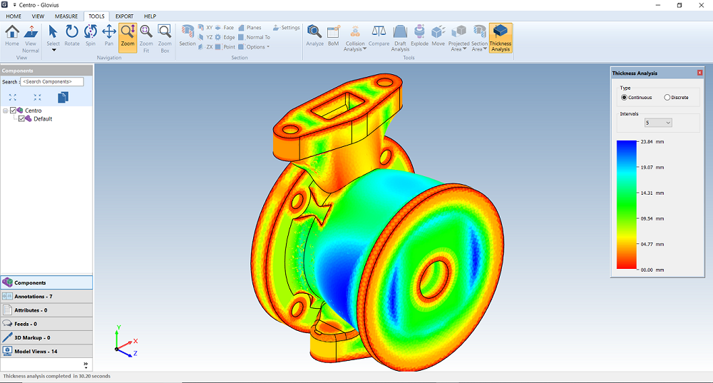 analyze Inventor files. perform thickness analysis, clash analysis, and draft analysis on Autodesk Inventor IPT Files and Autodesk Inventor IAM files.