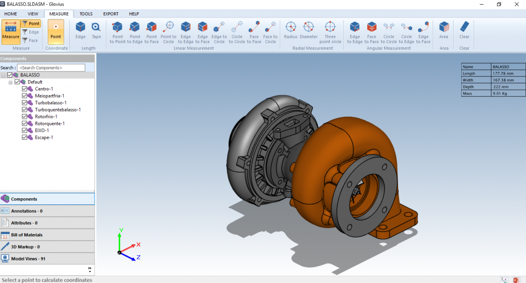 Measure Catia, ProE, NX, SolidEdge, SolidWorks, Inventor, STEP and IGES parts and assemblies