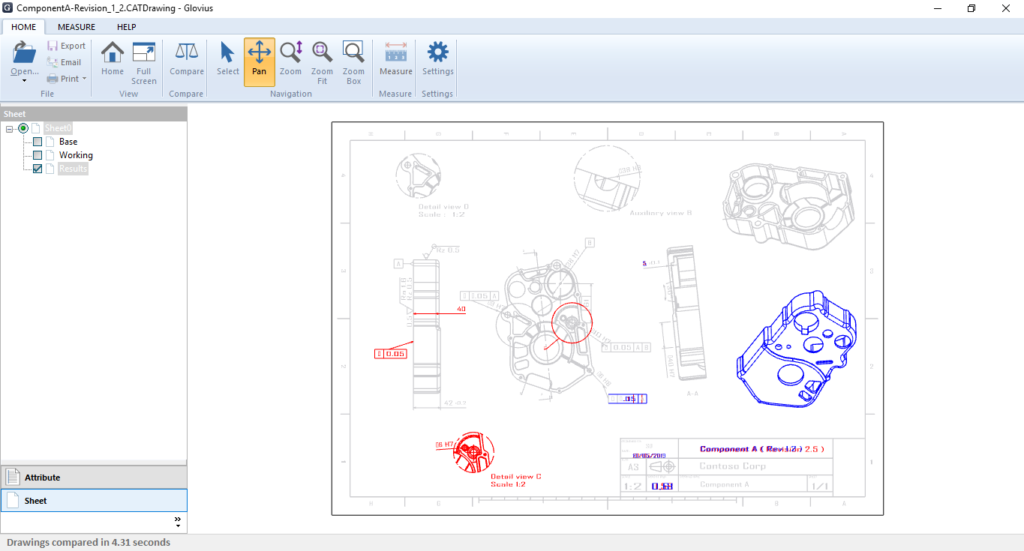 compare dwg files, compare dxf files, compare catia drawing files