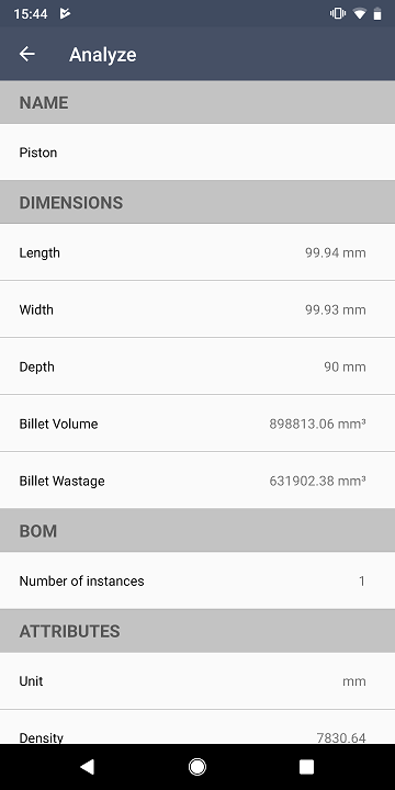 View essential file information- Glovius for Android Smartphone