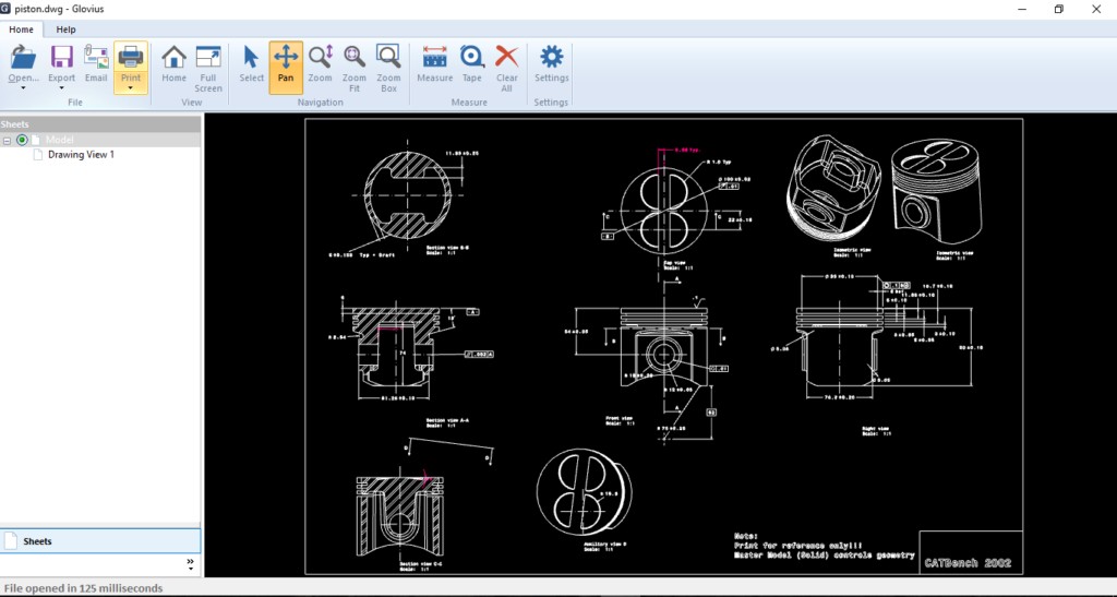View DWG and DXF files with free Glovius 2D Viewer.