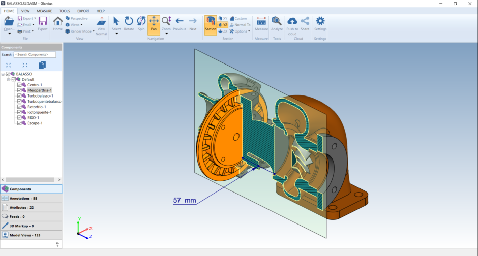 view Autodesk Inventor files and cut sections.