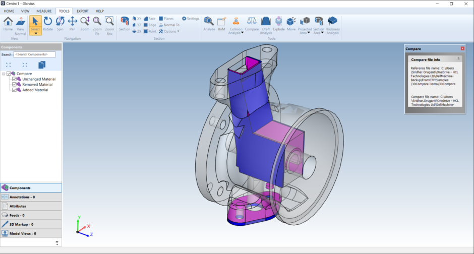 compare two NX files. compare an NX file with any other CAD file.