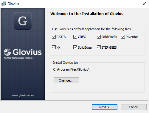 Installation of glovius