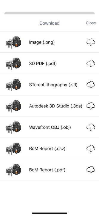 Download CAD file to 3DPDF, STL, 3DS, OBJ, DAE, and FBX formats