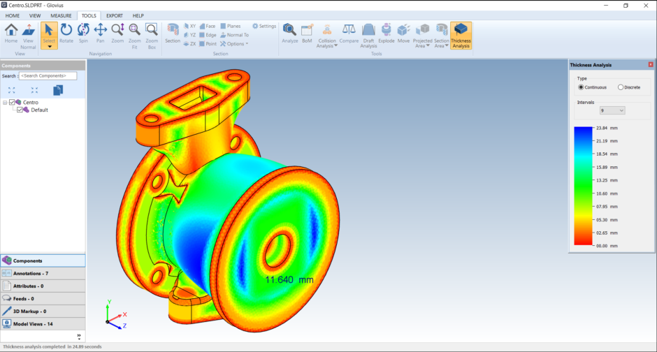 analyze SOLIDWORKS files. perform thickness analysis, clash analysis, and draft analysis on SLDPRT and SLDASM files.